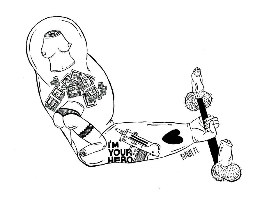 Dibujo, ego del macho, Byron Maher