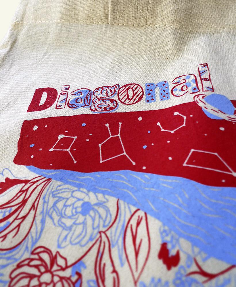 campaña navidad diagonal, ilustración, bolsa, byron maher