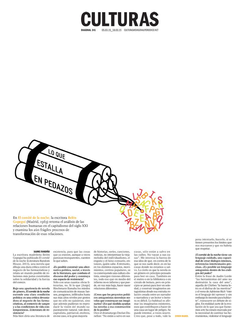 Culturas, Diagonal periódico, portadas, Byron Maher