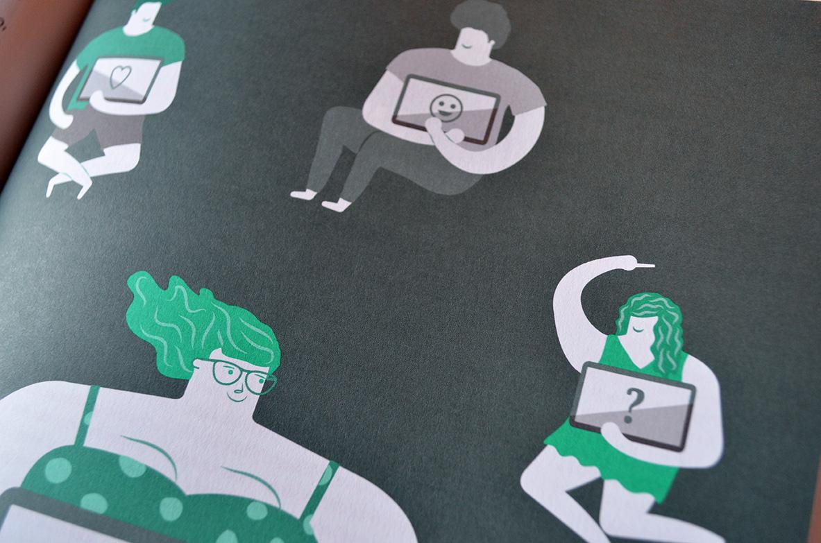 ilustración revista Bit y aparte, editorial, magazine, Byron Maher