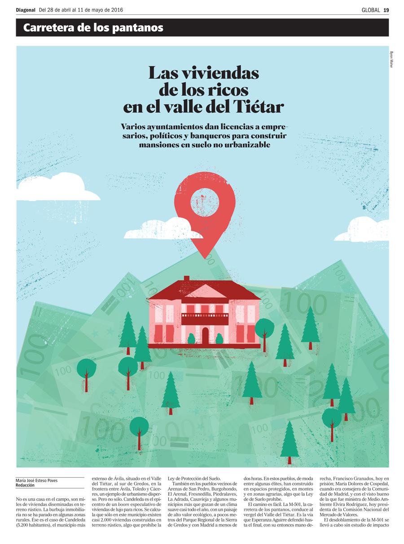 casas ricos valle del Tietar, Diagonal periodico, ilustración, Byron Maher